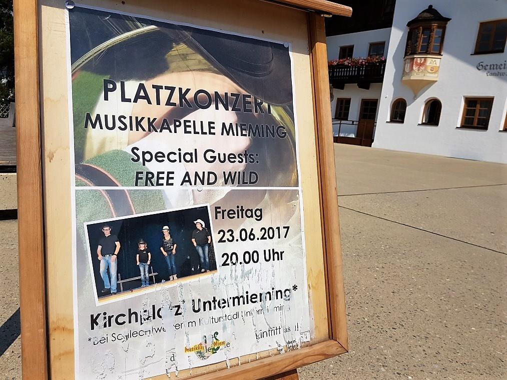Platzkonzerte Musikkapelle Mieming, Foto: Mieming online